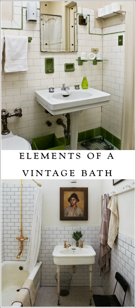 elements of a vintage bath    cove molding  pedestal sink  subway tile