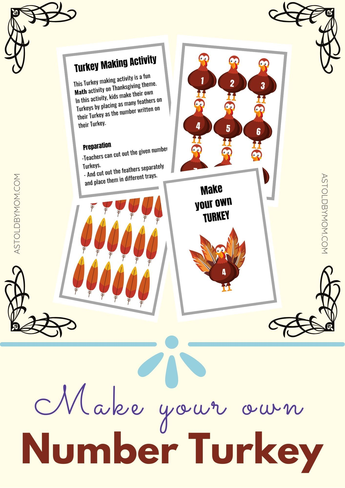 Make A Turkey Preschool To Class 1 Activity