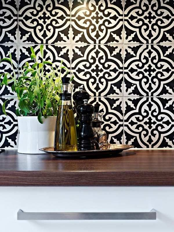 Divine Renovations Moroccan Tiles Black White Pattern – Black and White Kitchen Tile