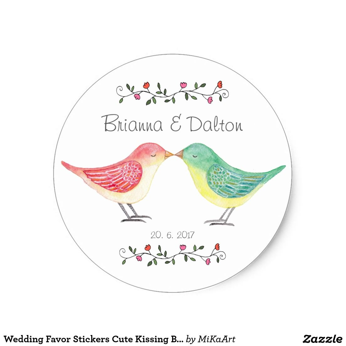Wedding Favor Stickers Cute Kissing Birds Wedding | Products