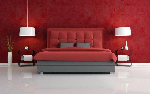 Conceptions Chambres à coucher rouge et noir | Conception, Décor ...