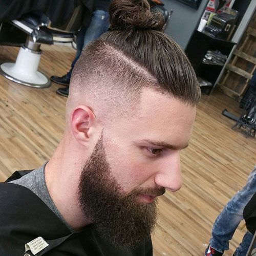 Top Knot With High Skin Fade And Full Beard Long Hair Styles Men Long Hair Styles Mens Summer Hairstyles