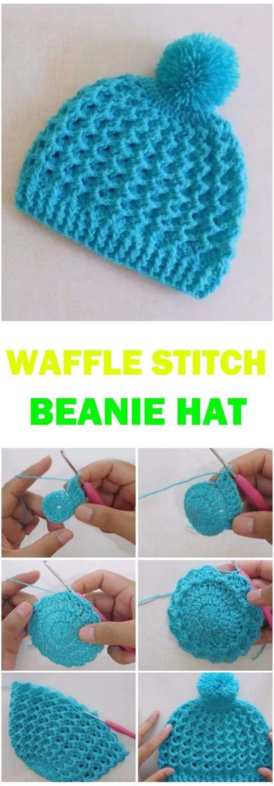 Waffle Stitch Beanie Hat Tutorial | Gorros de crochet, Gorros y Tejido
