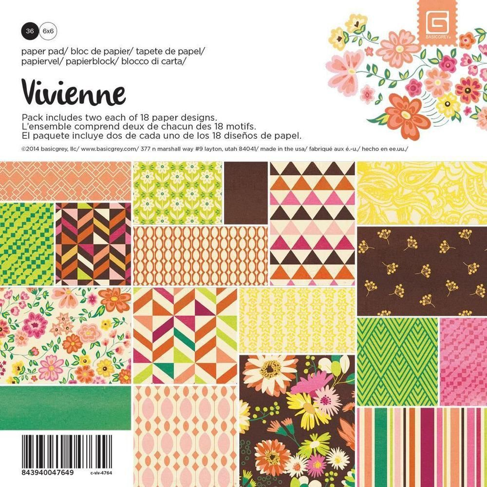 BasicGrey Vivienne Collection 6 x 6 Paper Pad Basic Grey  #Basicgrey