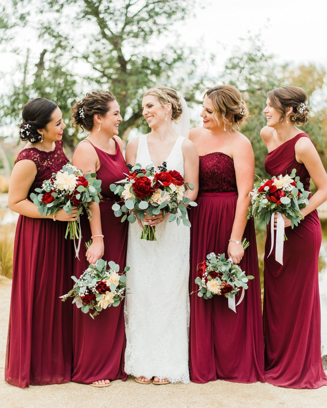 David S Bridal Bridesmaids In These Mix And Match Lace Burgundy Bridesmai Davids Bridal Bridesmaid Dresses Wedding Bridesmaid Dresses Bridal Bridesmaid Dresses
