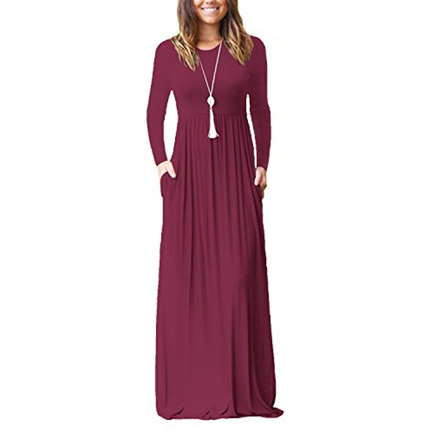 Women S Casual Long Sleeve Maxi Dress Loose Plain Long Dresses With Pockets Want To Know More Click On The Maxi Dress Long Dress Casual Maxi Dresses Casual [ 1500 x 1500 Pixel ]