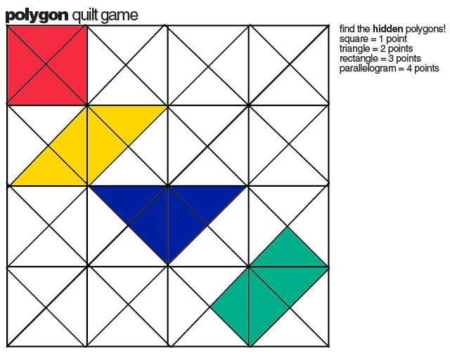 E is for explore polygon quilt game math teaching resources polygon math game 2 players take turn coloring in triangles ccuart Images