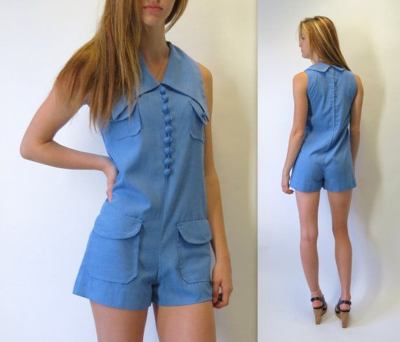 a8f7e9219f17 Vintage 70s Sky Blue Romper Mini Shorts Playsuit Butterfly Collar Mod  Onesie One Piece by BlueFridayVintage