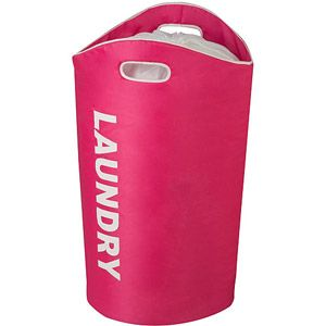 This colorful laundry tote is sturdy for easy loading and unloading, and is also available in blue, orange and green!