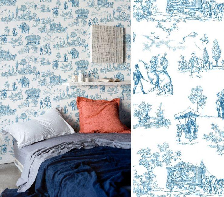 Sehr toile de jouy carnival bleu | Toile De Jouy Papier Peint  XW24
