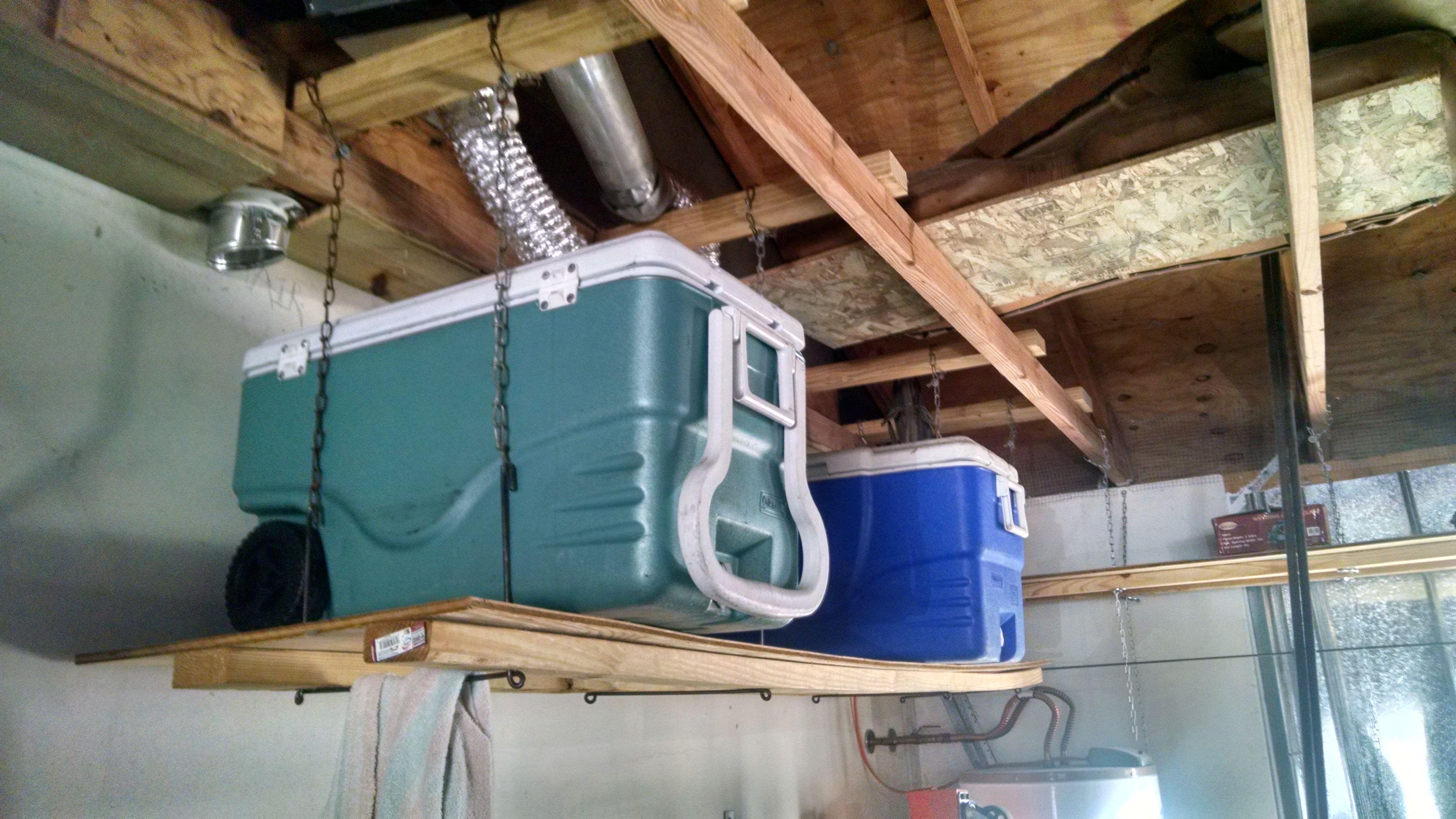 Garage Rafter Shelves Garage Storage Garage Design Garage Organization