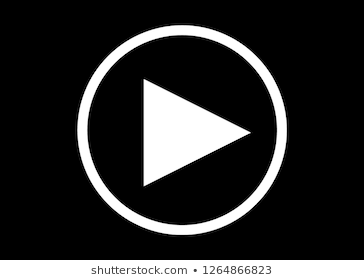 White Play Button With Black Background Line Art Stock Illustration Illustration
