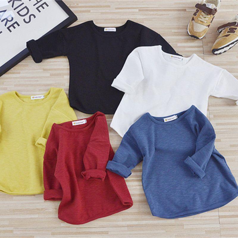 af0279b72 Boy  Girl T-shirt Solid Color Long Sleeve