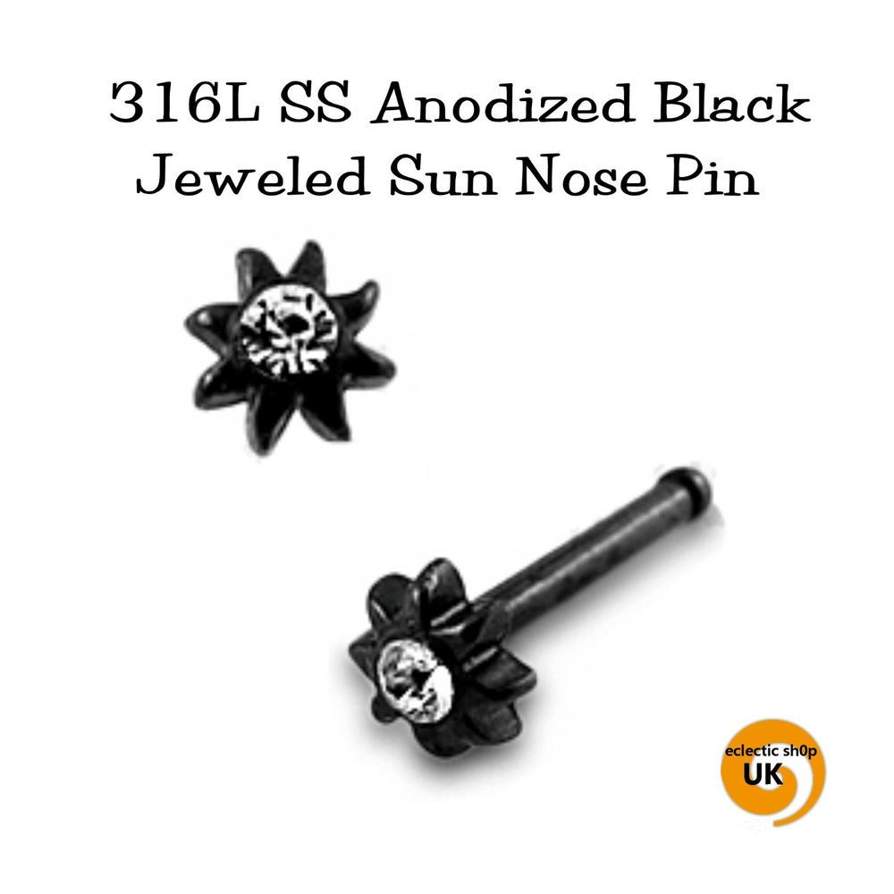 18g nose piercing   x Black SUN u Crystal L SURGICAL STEEL unisex NOSE STUD PIN