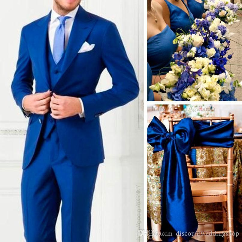 Cheap New Arrivals Two Buttons Royal Blue Groom Tuxedos Peak Lapel ...