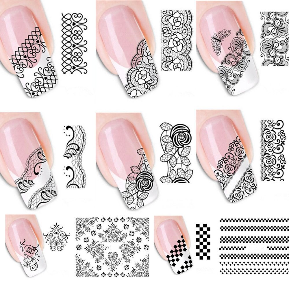 20pcs-New-Pretty-Mixed-Black-Lace-Vine-Designs-Water-Transfer-Nail ...