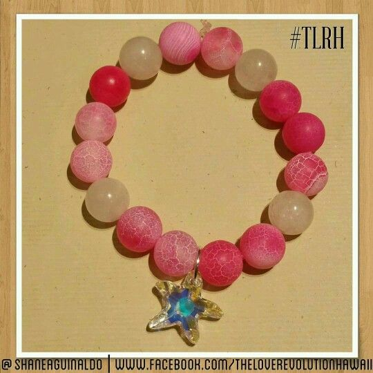 Majestic Pink Coral Treasures Harmonize with Deep Water Starfish in the Oceanic Blue.  It's A Wonderful Combination Of Pink Agate, Rose Quarts and An Exquisite Swarovski Crystal Starfish. This Unique and Wonderfully Made Piece Will Surely Warm Your Heart and Bring An Illuminating Smile Upon Your Face. Created By The Love Revolution Hawaii.  theloverevolutionhawaii@gmail.com   #TLRH