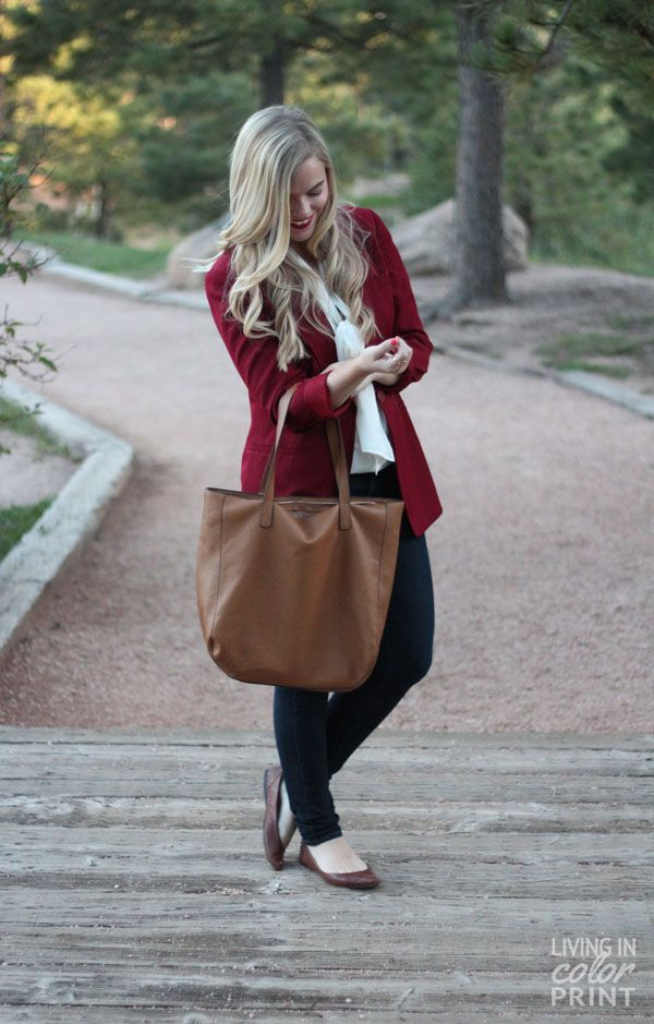 Merveilleux Burgundy Blazer | Living In Color Print