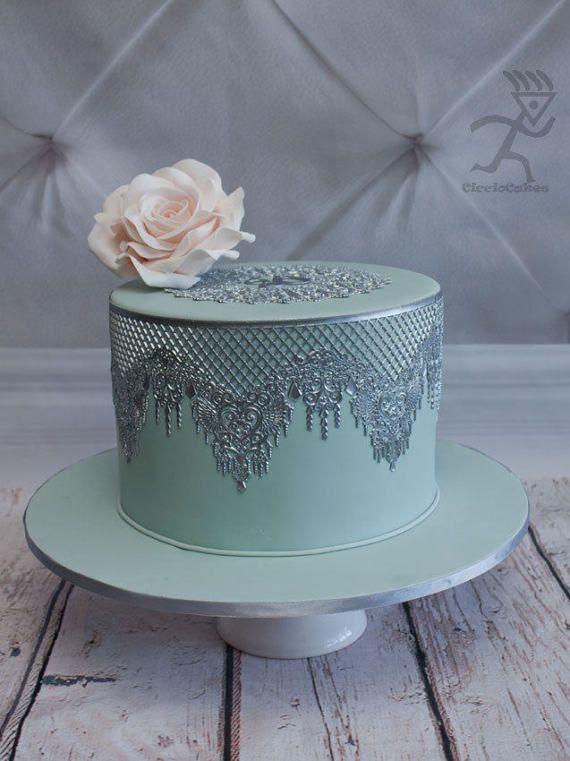 1 x EDIBLE SUGER LACE Wedding Anniversary Baby shower Birthday CAKE CUPCAKE TEA
