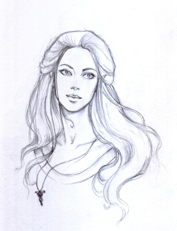long hair sketch drawing elf female character inspiration