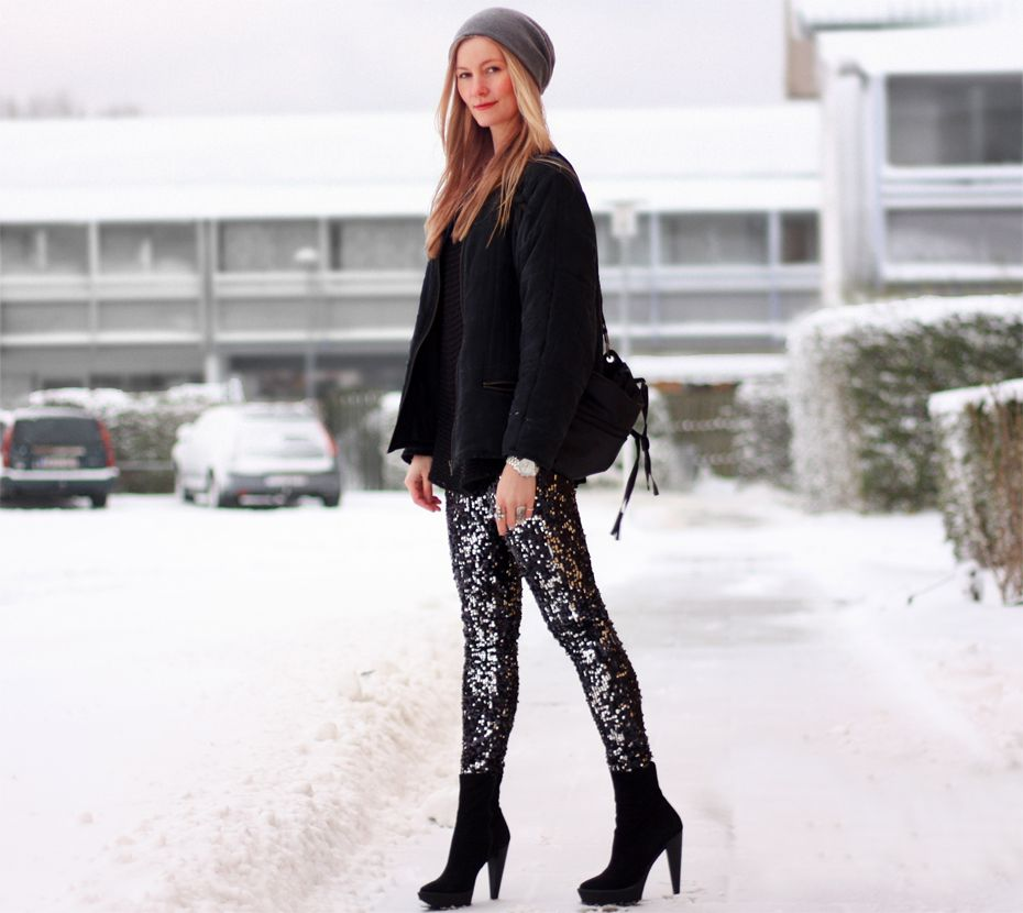 Sequin leggings and black bomber   Passions for Fashion