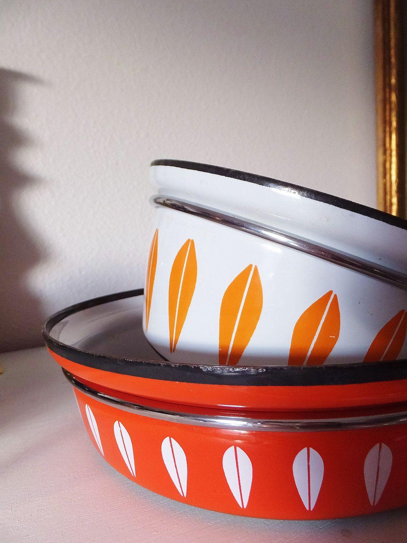 Mid Century Enamel Cookware 1960 S Cathrineholm Of Norway Enamelware Vtg 60 S Pot Pan Mid Century Atomic Mid Century Enamel Enamel Cookware Scandinavian Design