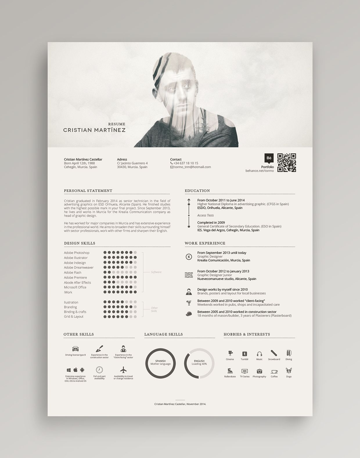 Resume  Curriculum Vitae On Behance   Pinteres