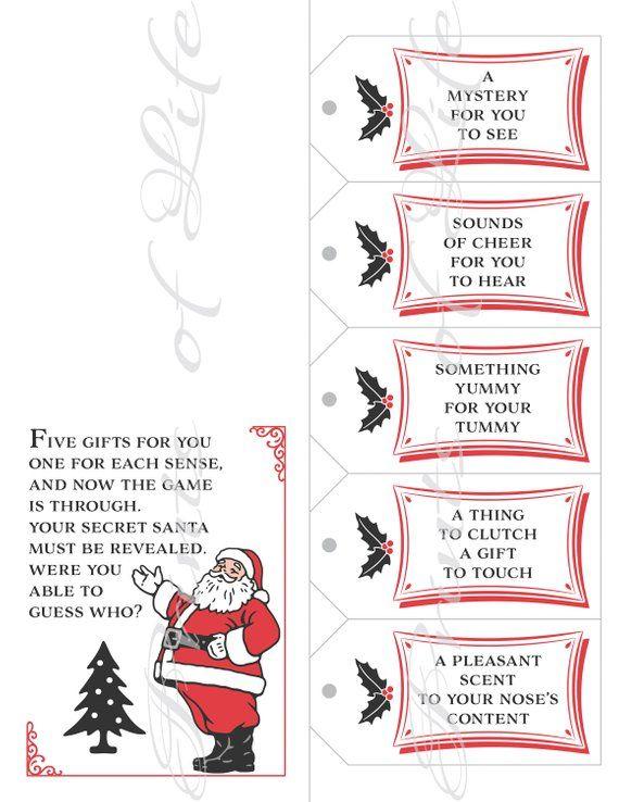 graphic regarding Secret Santa Cards Printable identified as 5 Senses Present Tags Card. Solution Santa replace. Fast