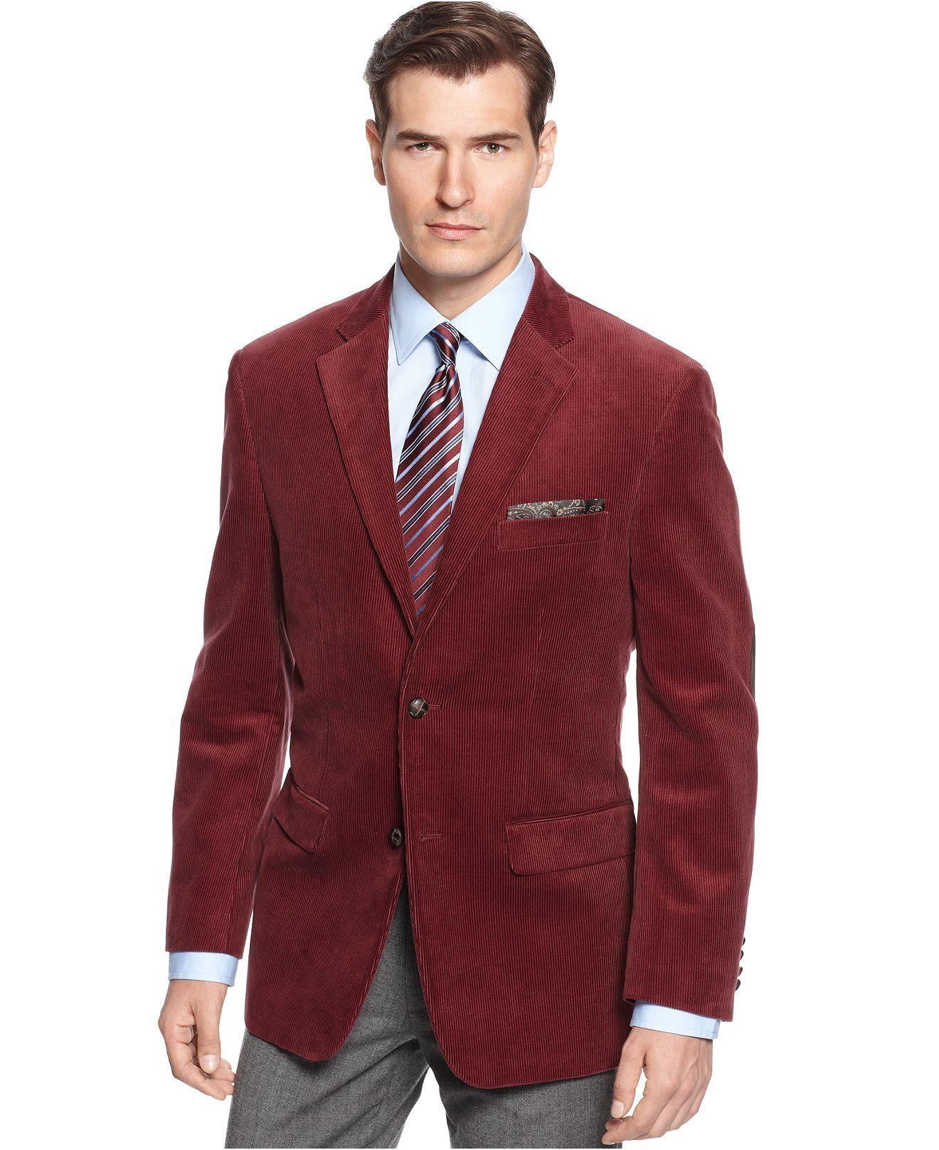 Tasso Elba Jacket, Solid Corduroy Blazer - Blazers & Sport Coats ...