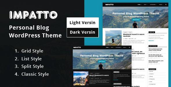 Impatto - Personal Blog WordPress Theme | Pinterest
