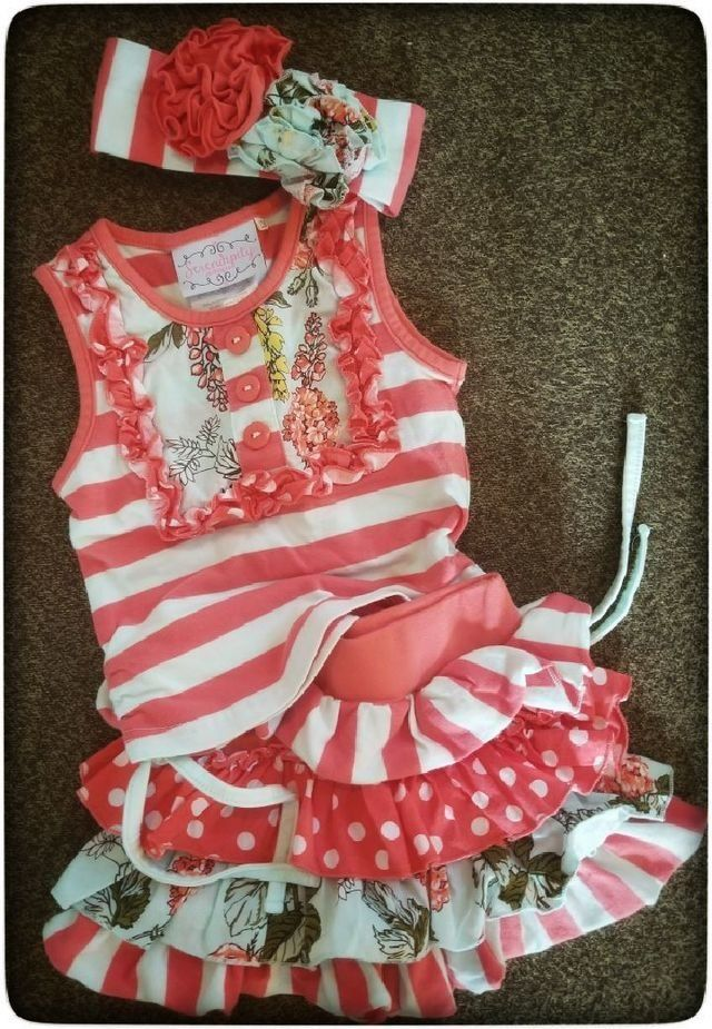 c604c47d7f4 Sweet coral and teal stripes with complimentary floral print. Top can be  ruched with ties. Matching headband completes the outfit. Sister Co Matilda  Jane