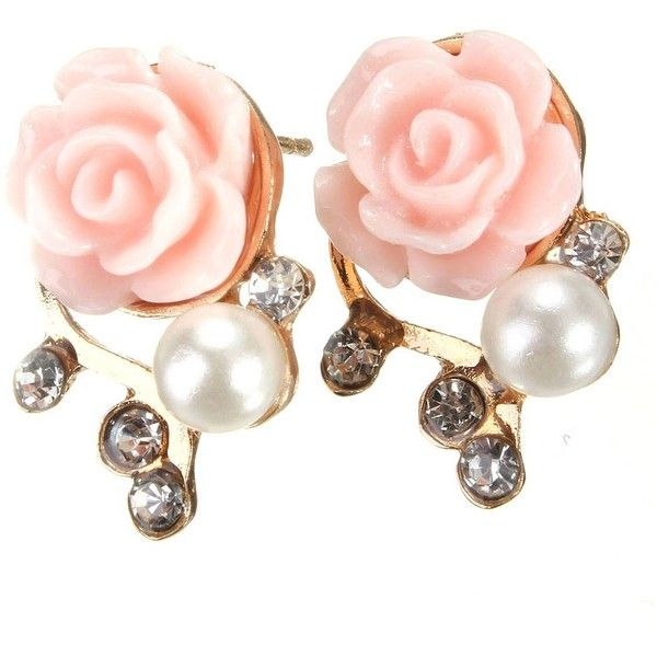 Crystal Resin Rose Flower Stud Earring ($3.26) ❤ liked on Polyvore featuring jewelry, earrings, earrings jewelry, crystal stone jewelry, flower stud earrings, crystal jewellery and resin earrings