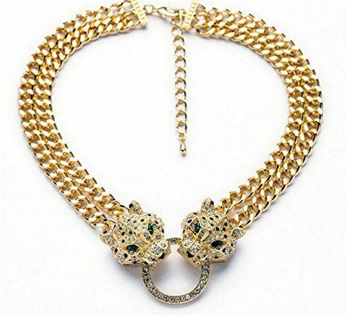 d8085f28f P.phoebus 18K Vintage Leopard Head Yellow Gold Green Eyes... Gold Fashion