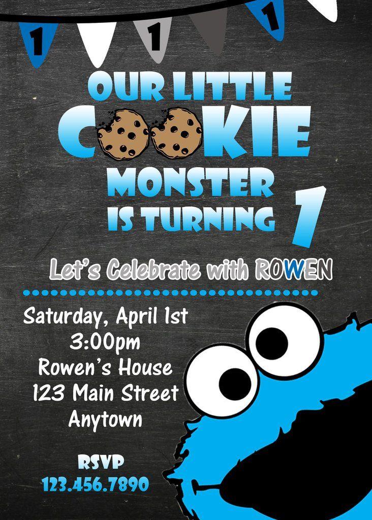 Cookie Monster Birthday Invitation Monster Birthday