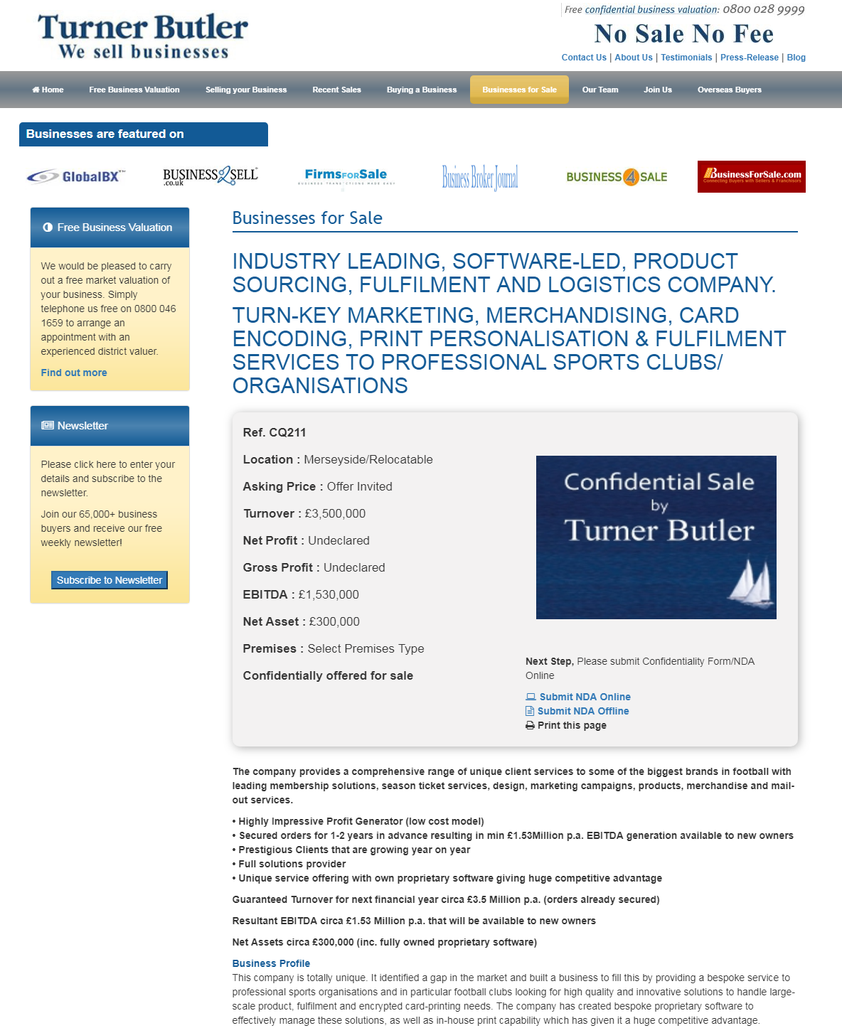 Business for sale INDUSTRY LEADING, SOFTWARE-LED, PRODUCT SOURCING