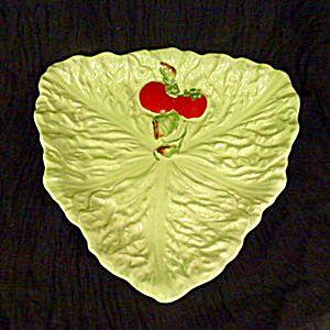 Carlton Ware green leaf red  tomato  dish serving dish centrepiece,
