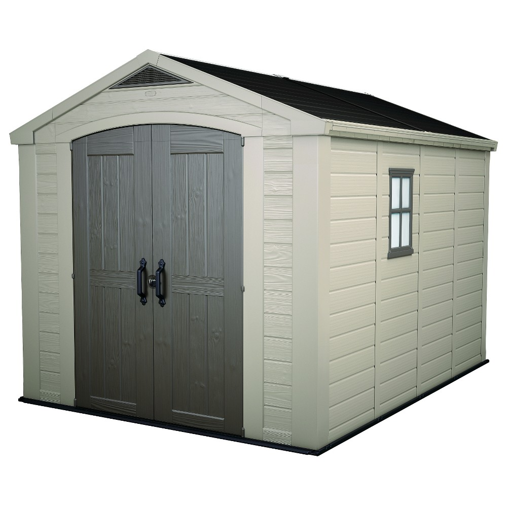 factor large resin outdoor storage shed 8x11 taupe beige keter rh pinterest com