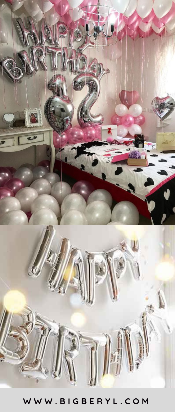 Happy Birthday Balloons Decorations Banner In Silver Gold Rose Red Blue Black Pink Mix Colors Macrons And Lot More