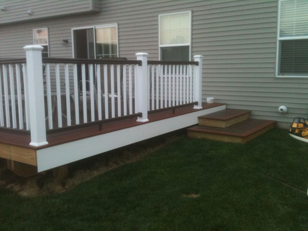 Brown Rails And White Balusters Deck Pinterest