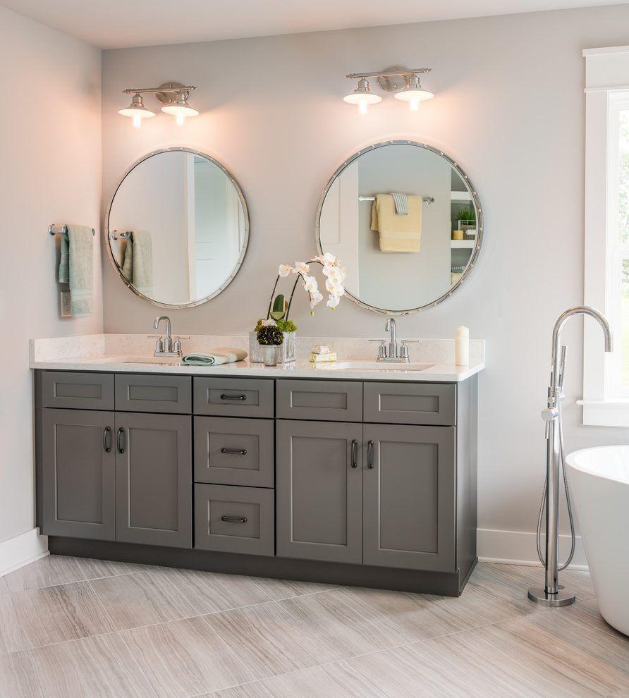 Image result for grey bathroom cabinet with black hardware