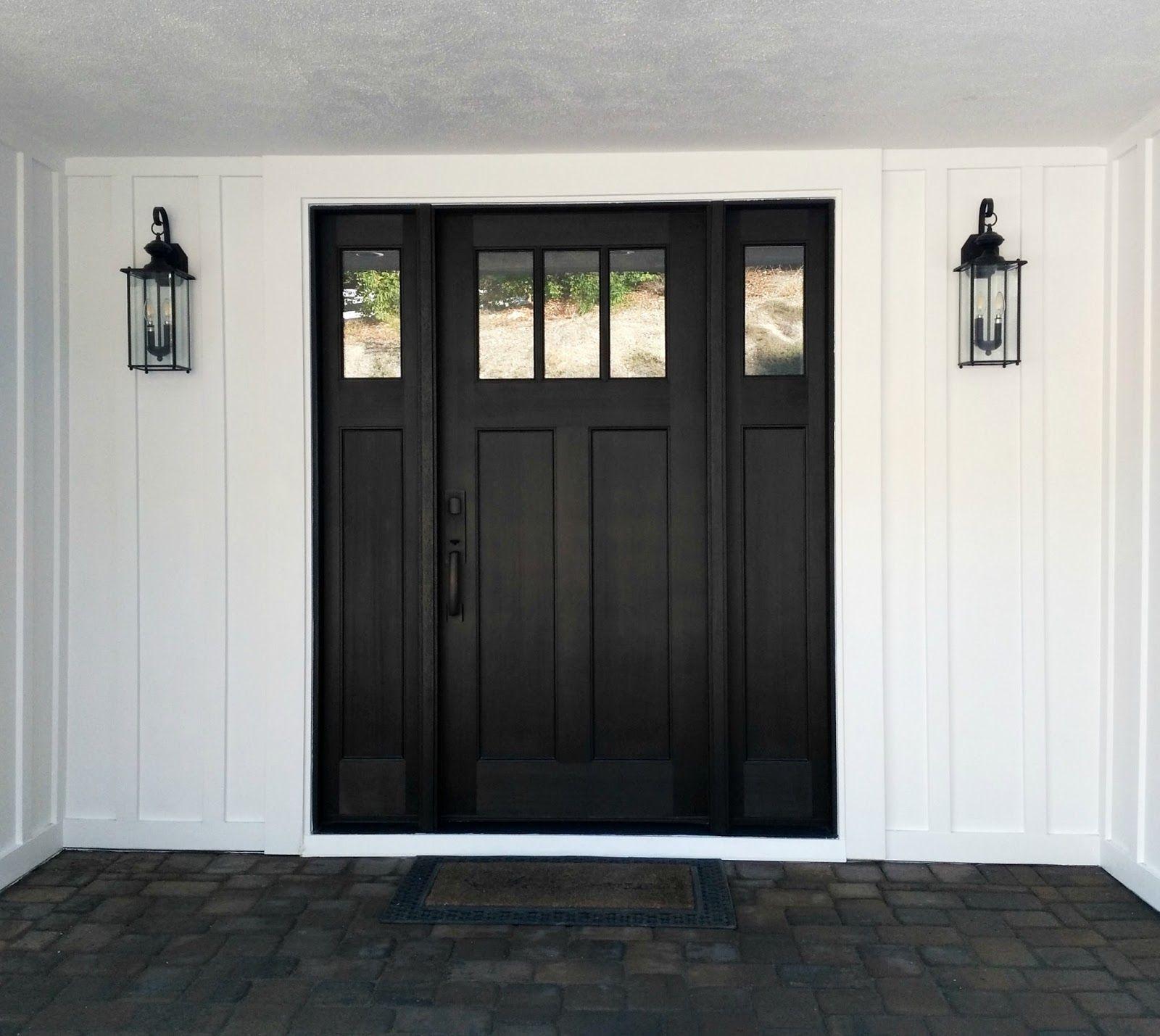 Modern Craftsman Black Entry Door Transitional Wall Lantern Exterior