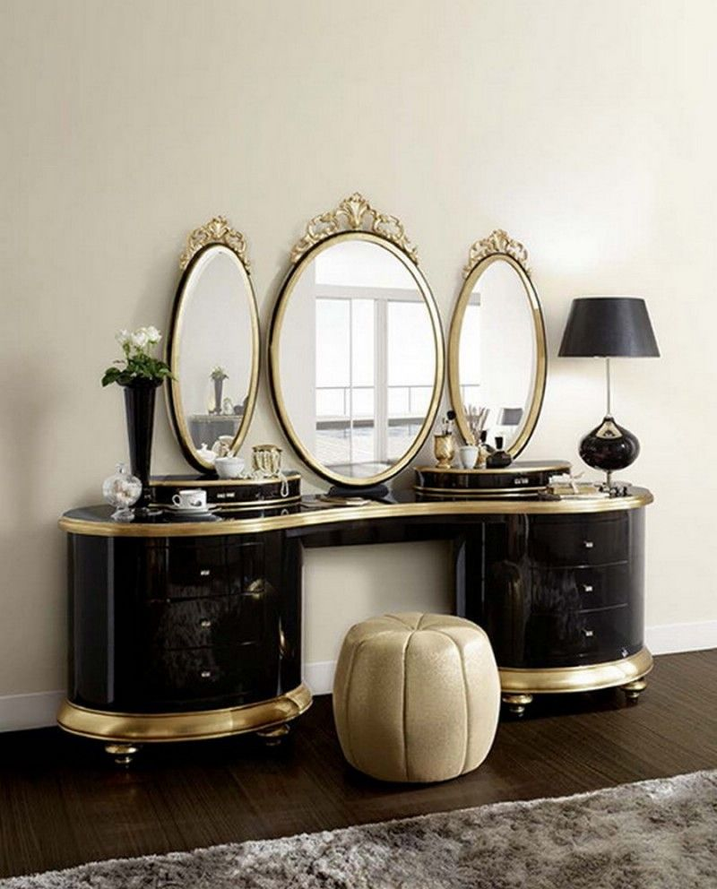 gold makeup vanity table. Furniture Antique Dressing Tables With Mirror And Unique Chairs Black  Stainless Steel Desk Lamp Glamour