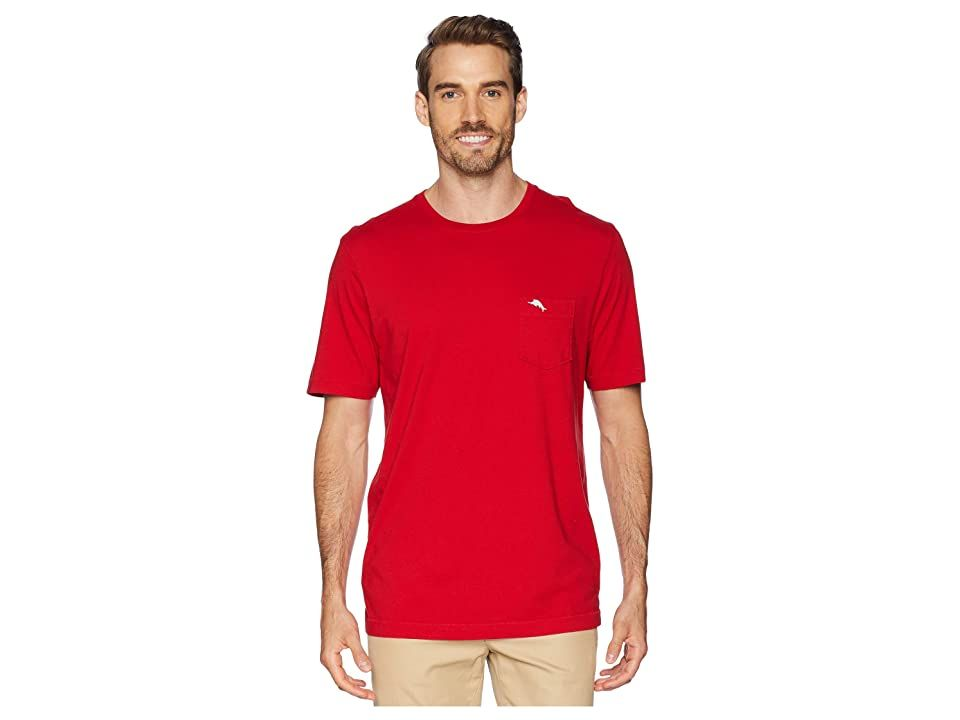 Tommy Bahama New Bali Skyline T-Shirt (Regal Red) Men's Short Sleeve Pullover. Like a gentle caress from a warm Caribbean breeze  this Tommy Bahama T-Shirt is ultimate in weekend relaxation. This standard fit tee is crafted from soft and luxurious Pima cotton fabrication that's perfect for weekend wear and off-duty days. Ribbed crew neck and a tagless collar. Short-sleeve feature. Sailfish embroidery at chest pocket. Straight  #TommyBahama #Apparel #Top #ShortSleevePullover #Red