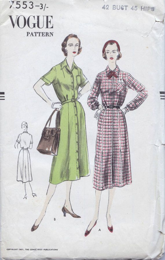 50s Vogue pattern 7553, dress sewing pattern, Bust 42 inches ...