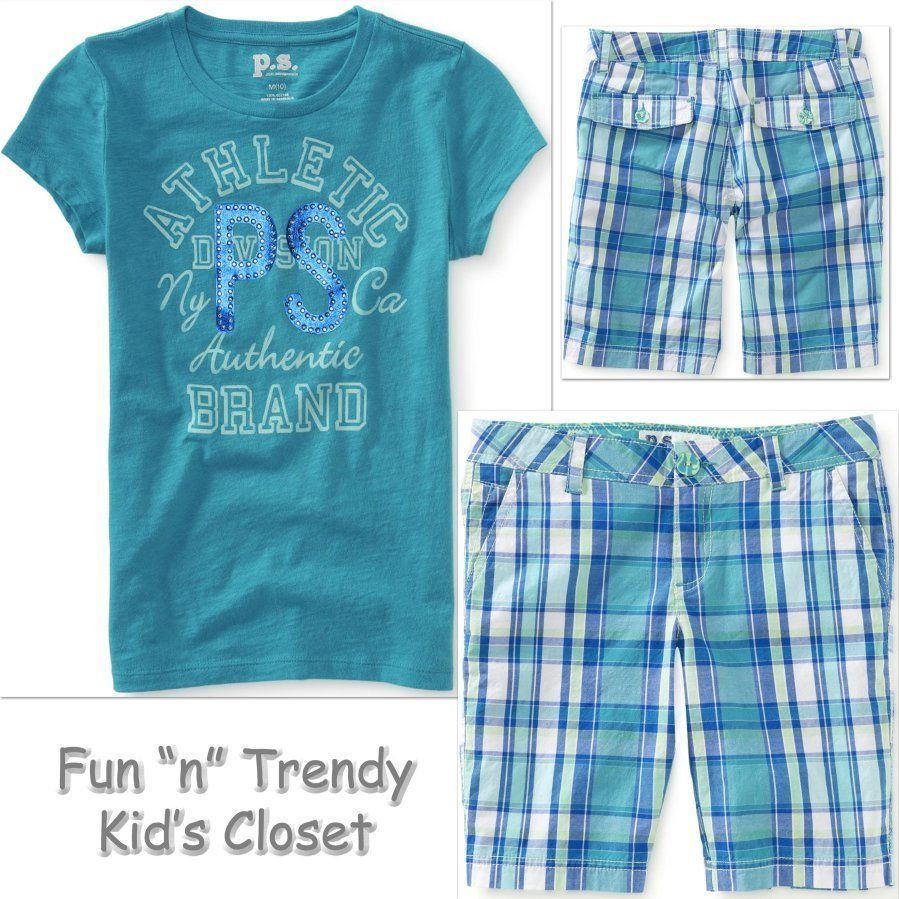 NWT PS Aeropostale Kids Girls Size 10 Plaid Shorts & Tee Shirt Top 2-PC OUTFIT #PSAeropostale #Everyday