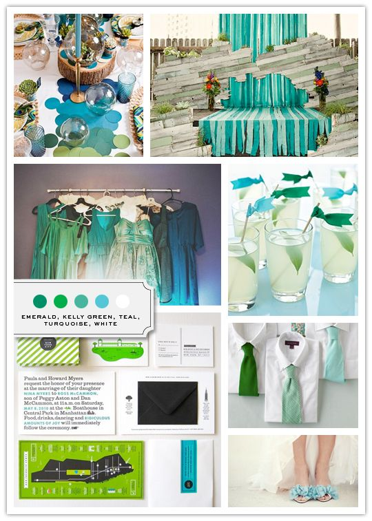 Color Palette: Emerald, Kelly Green, Teal, Turquoise, White