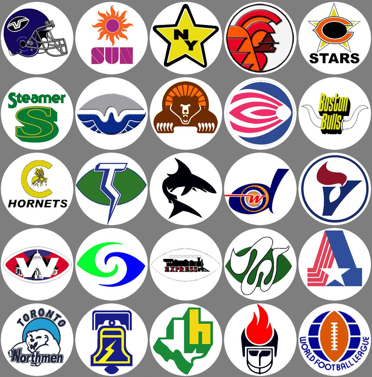WFL all 28 team logos Buttons or NEW 1.25 inch