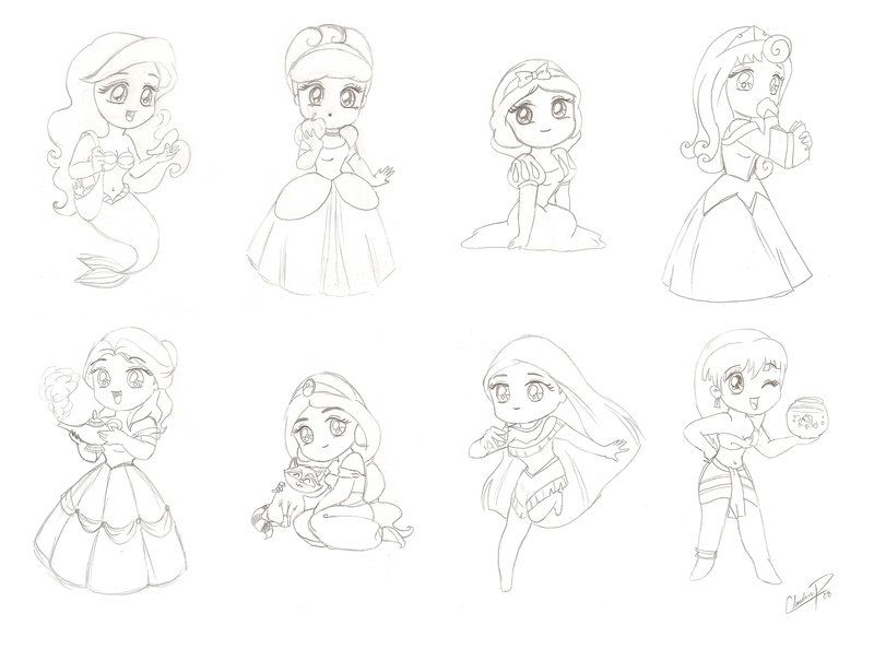 Chibi Manga Disney Princess By Madmoiselleclau On Deviantart Disney Princess Coloring Pages Disney Princess Colors Disney Princess Anime