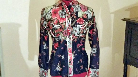 Vintage Western Shirt with red flowers / by sistersvintageattic