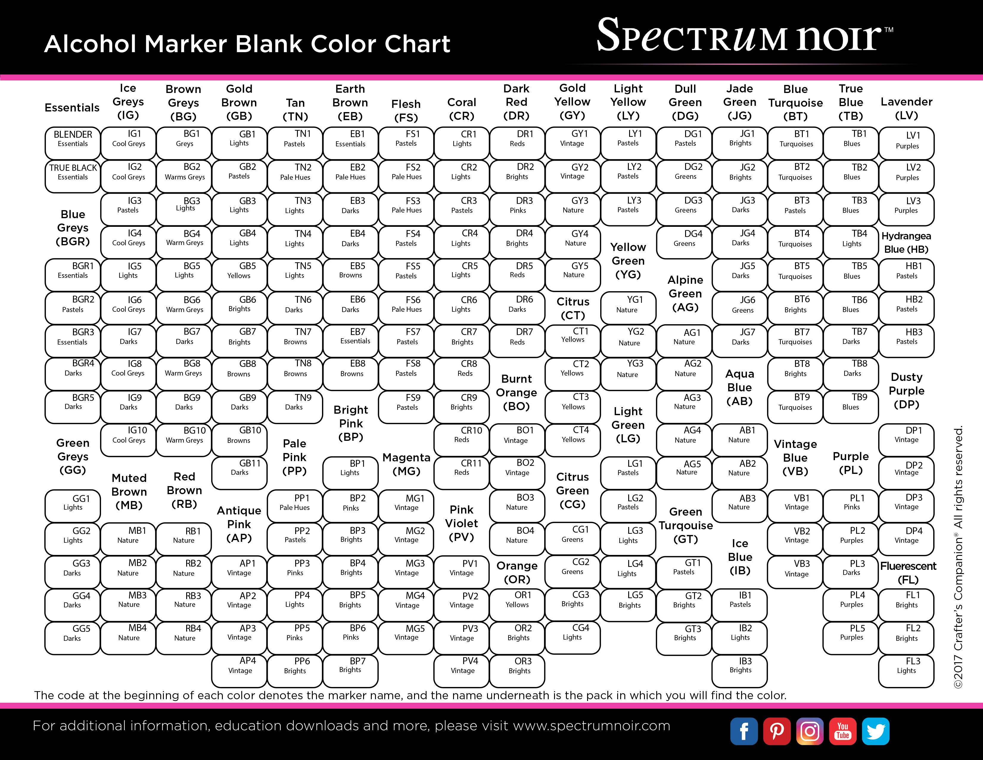 Sn Markers Color Chart Complete Collection 2017 Blank Jpg 3300 2550 Spectrum Noir Markers Coloring Spectrum Noir Markers Spectrum Noir Pencils